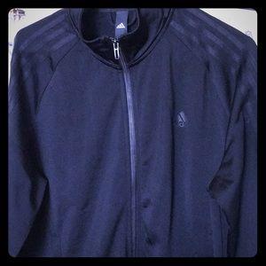 Adidas Track Jacket, black with black stripes.